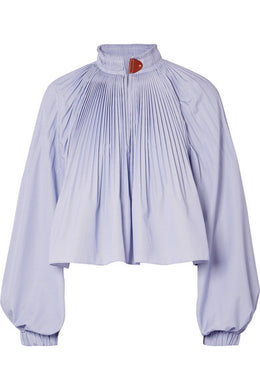 TIBI Isabelle pleated striped poplin blouse