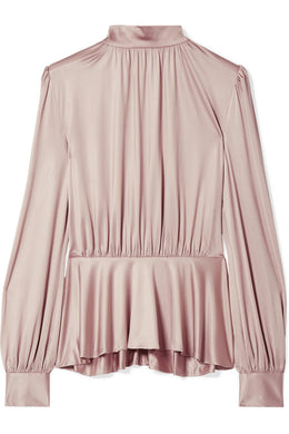CO-Pleated stretch-satin jersey peplum blouse