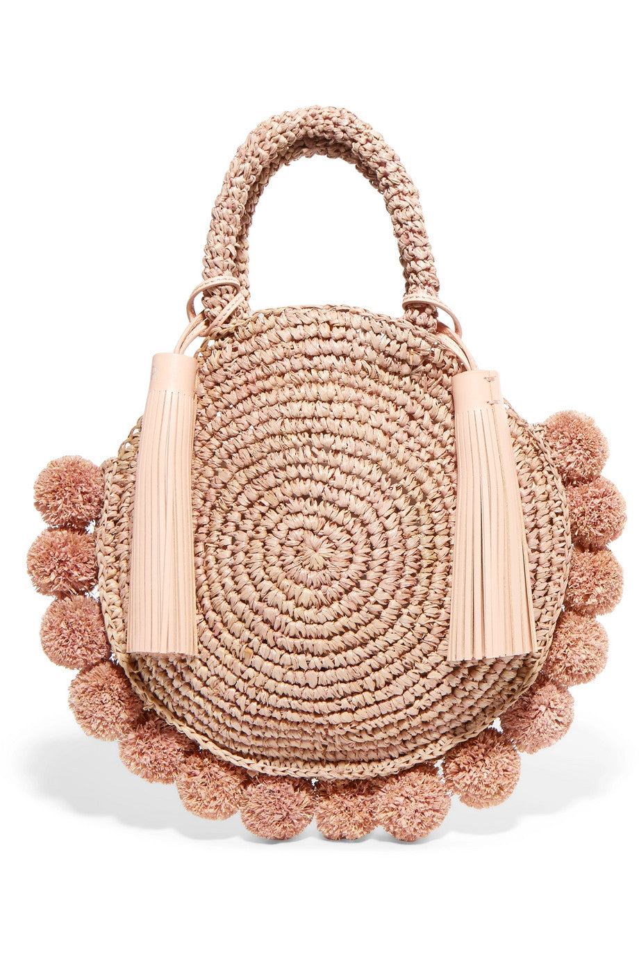 LOEFFLER RANDAL- Circle pompom-embellished leather-trimmed straw tote