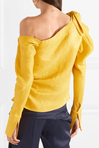 HELLESSY One-shoulder textured linen and silk-blend top