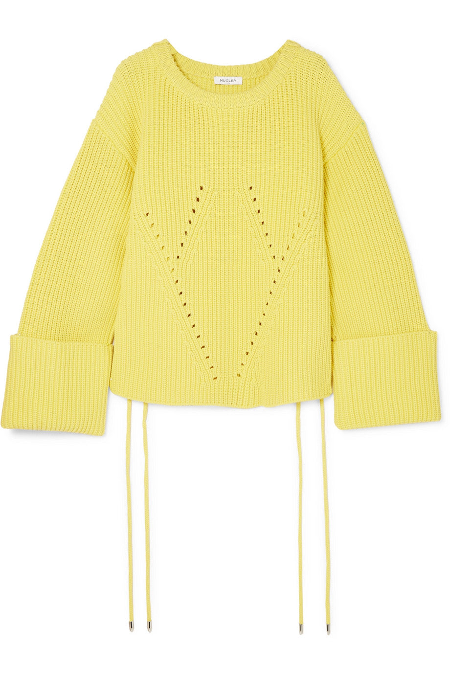 MUGLER Oversized lace-up ribbed cotton-blend sweater