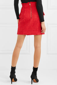 BALMAIN Frayed tweed mini skirt
