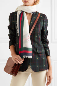 GUCCI-Embroidered striped silk and wool-blend scarf