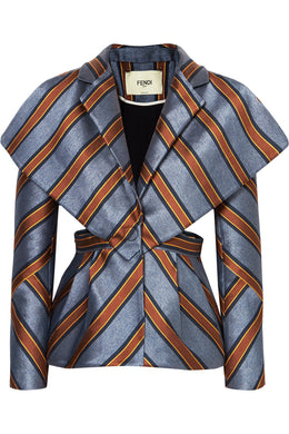 FENDI-Cutout striped satin-jacquard blazer