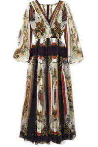 DOLCE & GABBANA-Wrap-effect printed silk-chiffon maxi dress