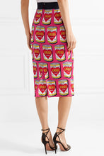 DOLCE & GABBANA Printed stretch-silk charmeuse midi skirt