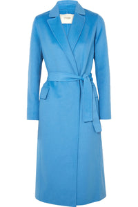 MAJE Belted brushed wool-blend felt coat