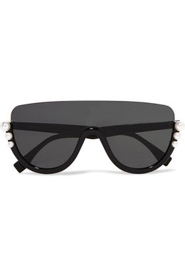 FENDI-Faux pearl-embellished D-frame acetate sunglasses