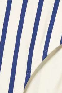 SOLID & STRIPED-The Vera off-the-shoulder striped swimsuit