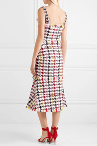 OSCAR DE LA RENTA-Fringed houndstooth wool-blend tweed dress