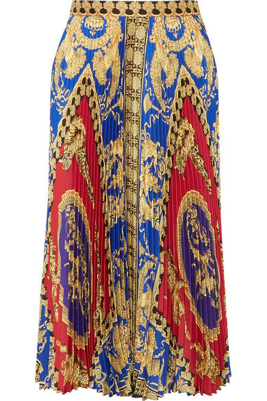 VERSACE-Pleated printed satin midi skirt