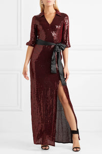 ALICE + OLIVIA-Bayley satin-trimmed sequined-chiffon maxi dress