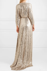 JENNY PACKHAM-Satin-trimmed sequined silk wrap gown