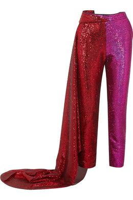 HALPERN-Draped sequined satin and tulle straight-leg pants