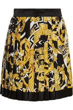 VERSACE-Pleated printed silk-twill mini skirt