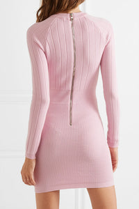 BALMAIN-Button-embellished wool-blend mini dress