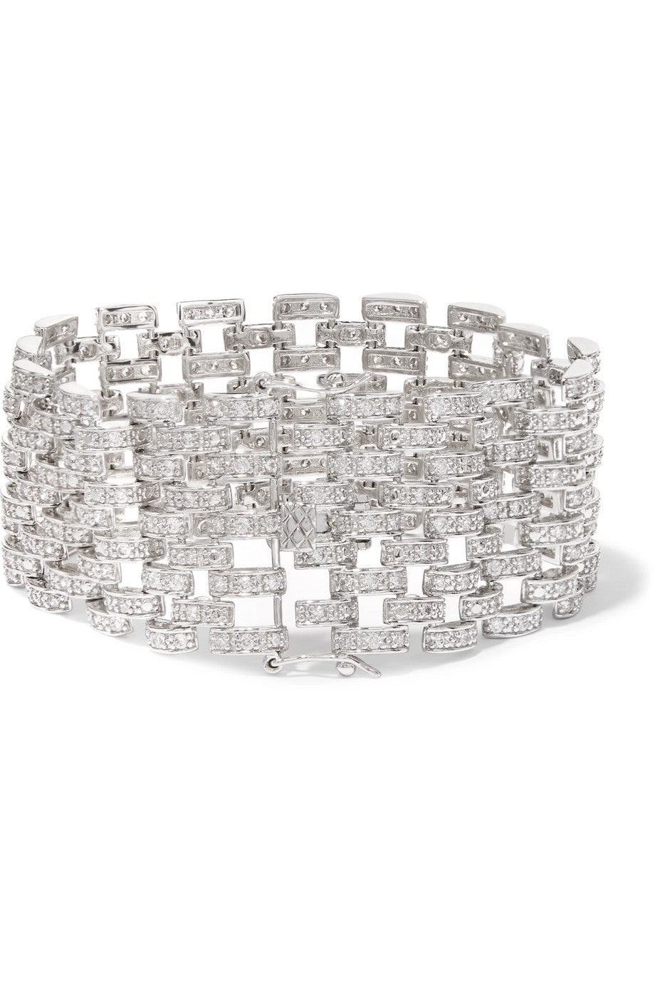 KENNETH JAY LANE Rhodium-plated cubic zirconia bracelet