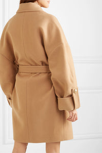 BALMAIN-Button-embellished double-breasted wool and cashmere-blend coat