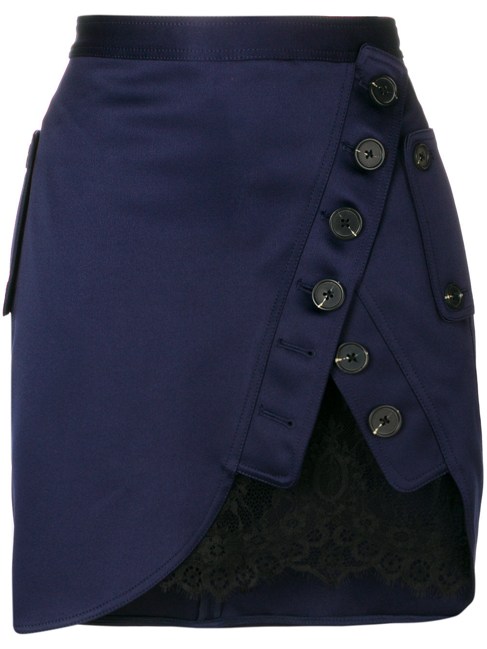 SELF-PORTRAIT asymmetric trench lace skirt