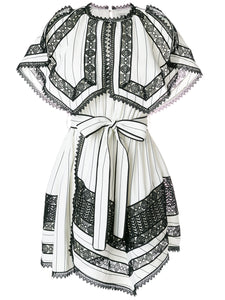 SELF-PORTRAIT monochrome stripe handkerchief dress