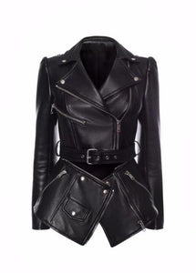 ELLURE COUTURE-VEGAN DETACHABLE DOUBLE LEATHER JACKET