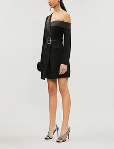 ELLURE COUTURE-LAVISH ALICE-Asymmetric belted stretch-crepe dress