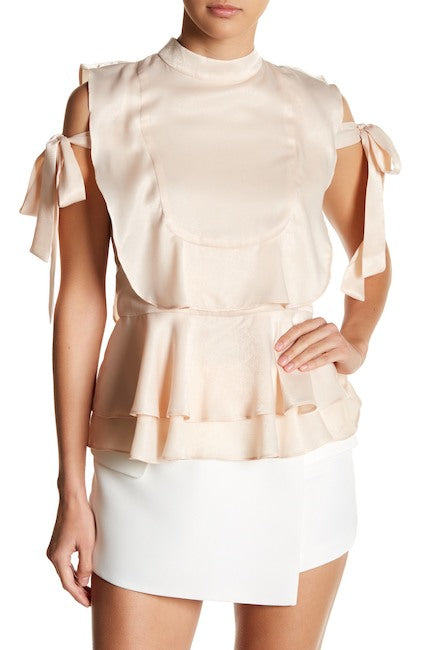 Endless Rose Satin Side Tie Ruffle Top
