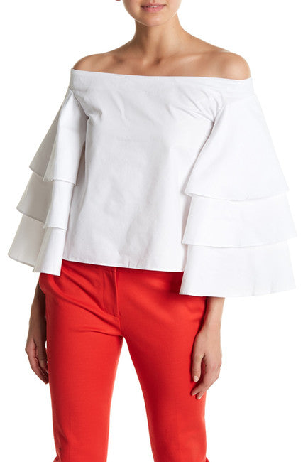 Endless Rose- Triple Bell Sleeve Off-the-Shoulder Top