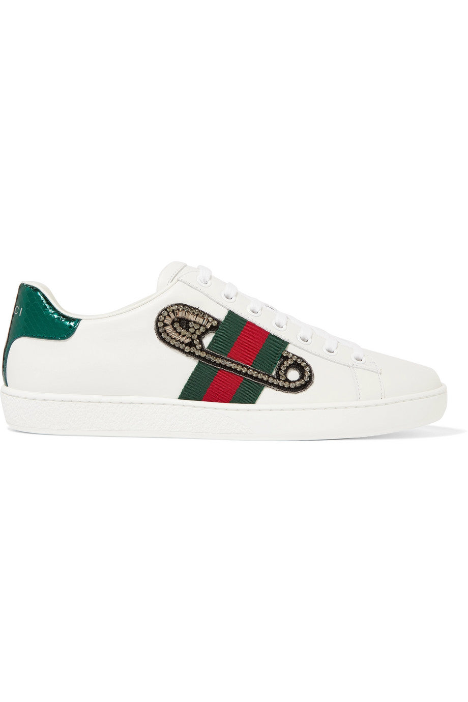 GUCCI-Ace Watersnake-trimmed embellished leather sneakers
