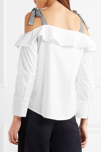 J.CREW Hoot cold-shoulder ruffled cotton-poplin top