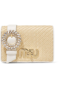 MIU MIU My Miu-crystal-embellished textured-leather and raffia shoulder bag