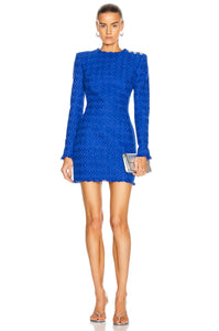 BALMAIN-Tweed Long Sleeve Minidress