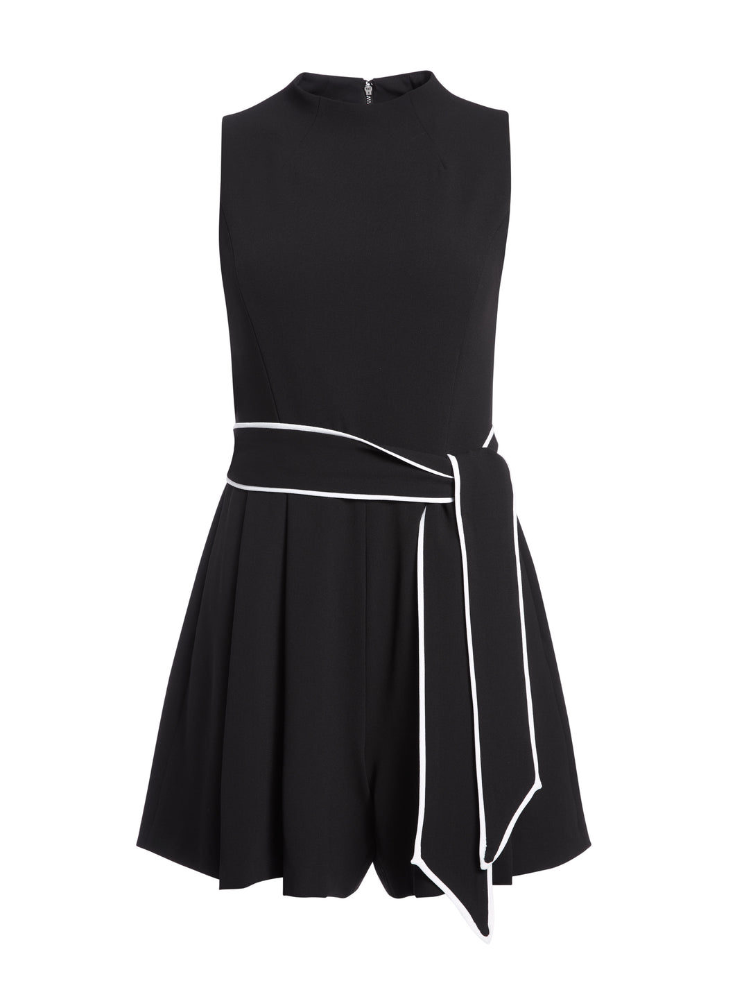 Alice+Olivia-HARLAN PLEATED ROMPER WITH BELT