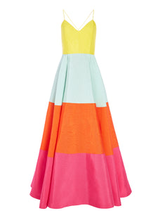 Alice+Olivia LAVELLE COLOR BLOCK MAXI GOWN
