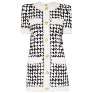 ELLURE COUTURE- TWEED HOUNDSTOOTH MINI DRESS