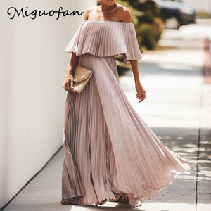 Off the Shoulder Chiffon Summer Dress Women Ruffle Pleated Long Dress