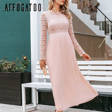 Elegant  neck pleated lace white dress women Casual embroidery plus size long dress Autumn winter ladies party dress