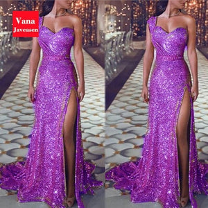 Elegant  One-Shoulder Women Dress Sequined High Waist Long
