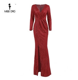 Classy yet elegant V Neck Long Sleeve Glitter High Split Dresses Female Elegant Party Clubwear Maxi Elegant Dress VestdiosFT18776