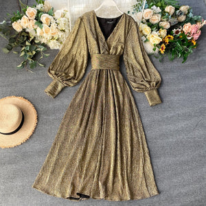 Vintage Party Dress Women Slim Puff Sleeve V Neck