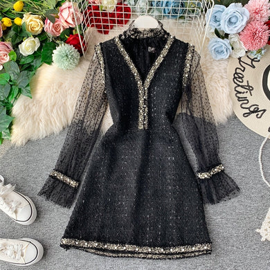 Dress Suit Lace Bottoming Shirt and Ladies Tweed Beaded V-neck Vest Dress Above Knee A-line Dress