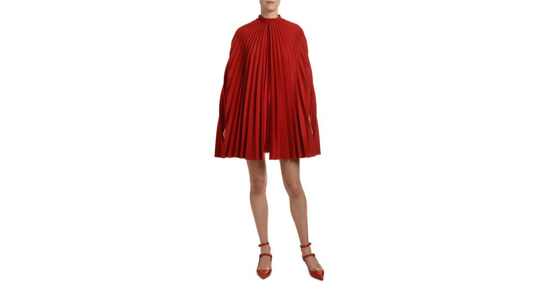 Valentino-Plisse Draped Cape