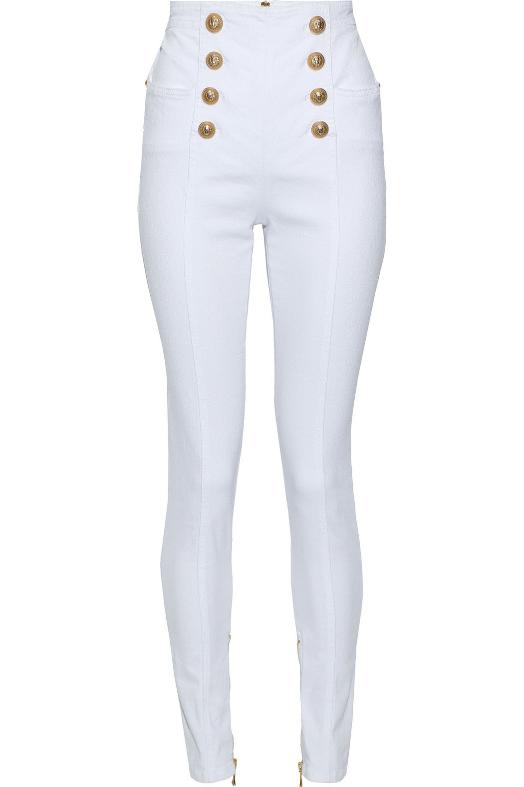 BALMAIN-Button-embellished high-rise skinny jeans