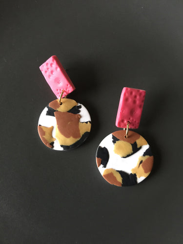 Classic Animal Print and Pink Elna Earrings