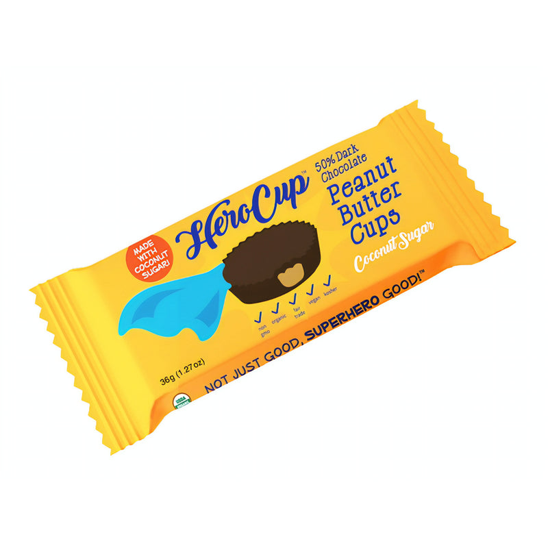 Herocup 50% dark chocolate peanut butter cup made with coconut sugar
