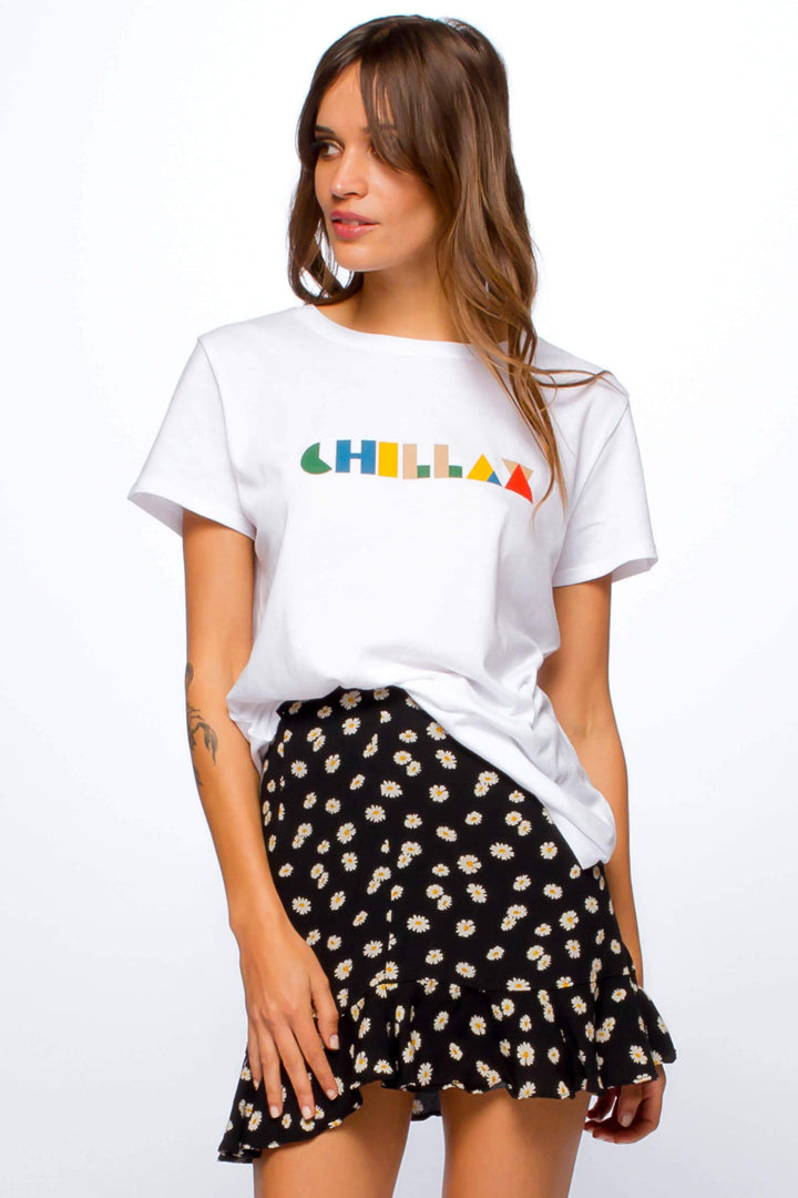 Chillax White Loose Tee