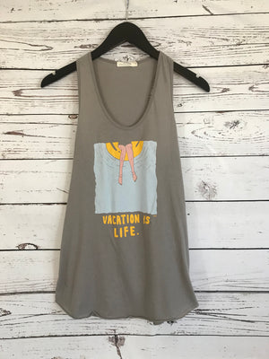 Vacation Is Life Grey Tank Top