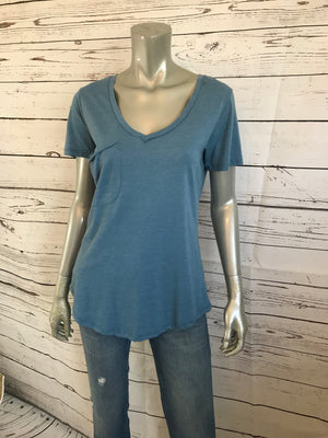 Cotton V-neck Pocket Tee