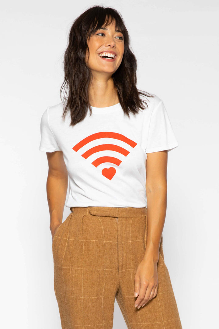 Heart Wifi white loose tee