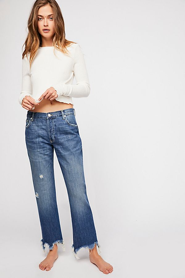 Free People Maggie Mid Rise Straight Leg Denim
